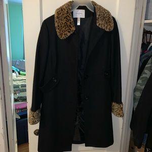 Long Wool-Blend Coat with Faux Cheetah Fur Collar